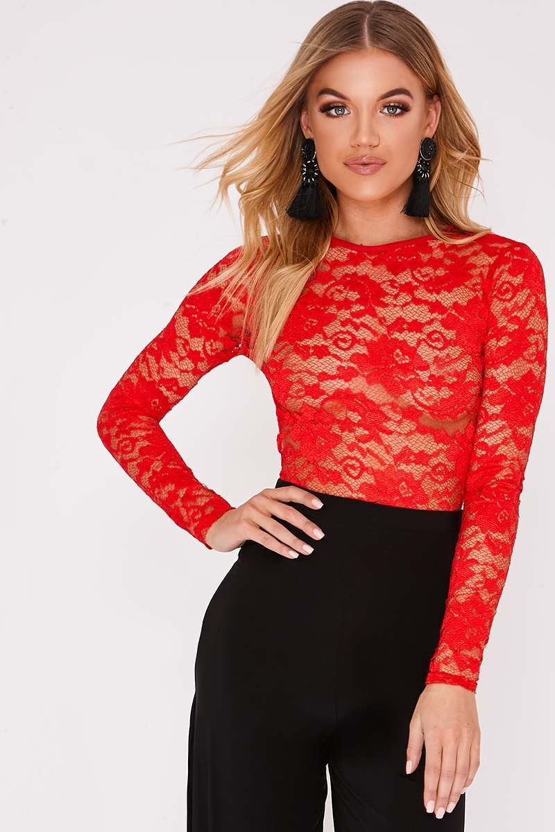 HARRILYN RED LACE LONG SLEEVE BODYSUIT