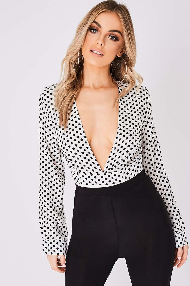 white polka dot deep plunge bodysuit