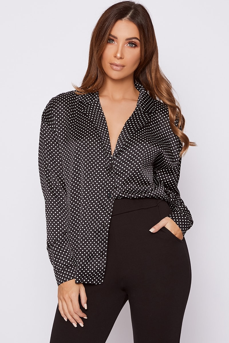 MIKALA BLACK POLKA DOT SATIN SHIRT