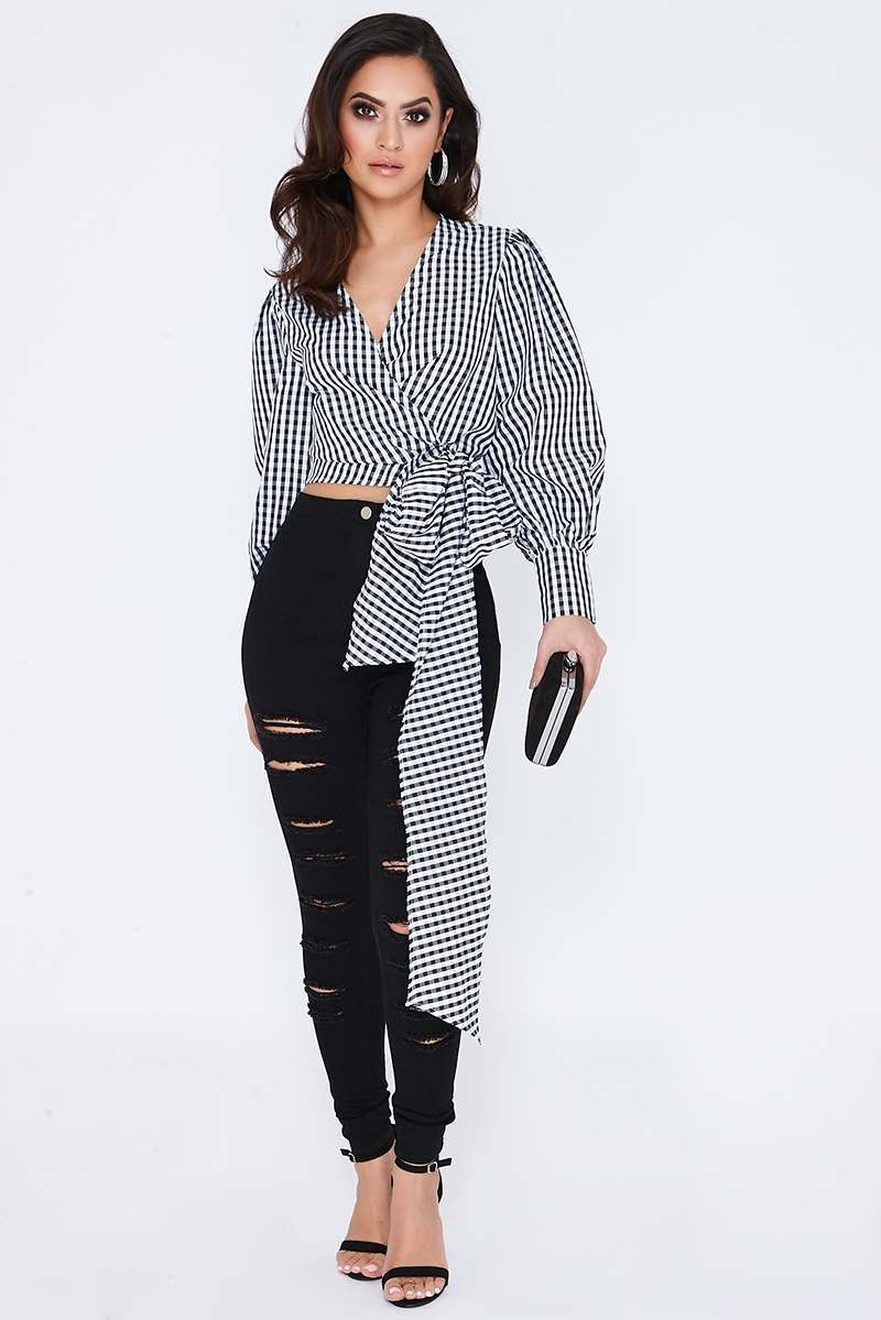 LAUREEN BLACK CHECK LONG SLEEVE WRAP TIE FRONT TOP