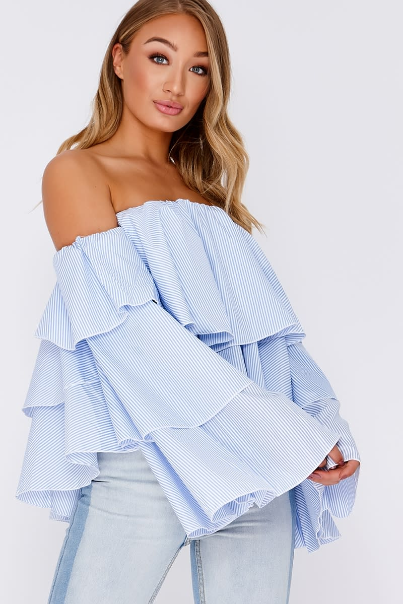 KAILLA BLUE STRIPE FRILL LAYERED BARDOT TOP
