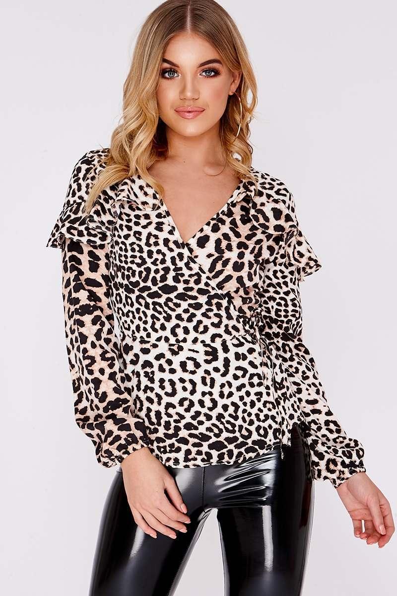 leopard print wrap shirt