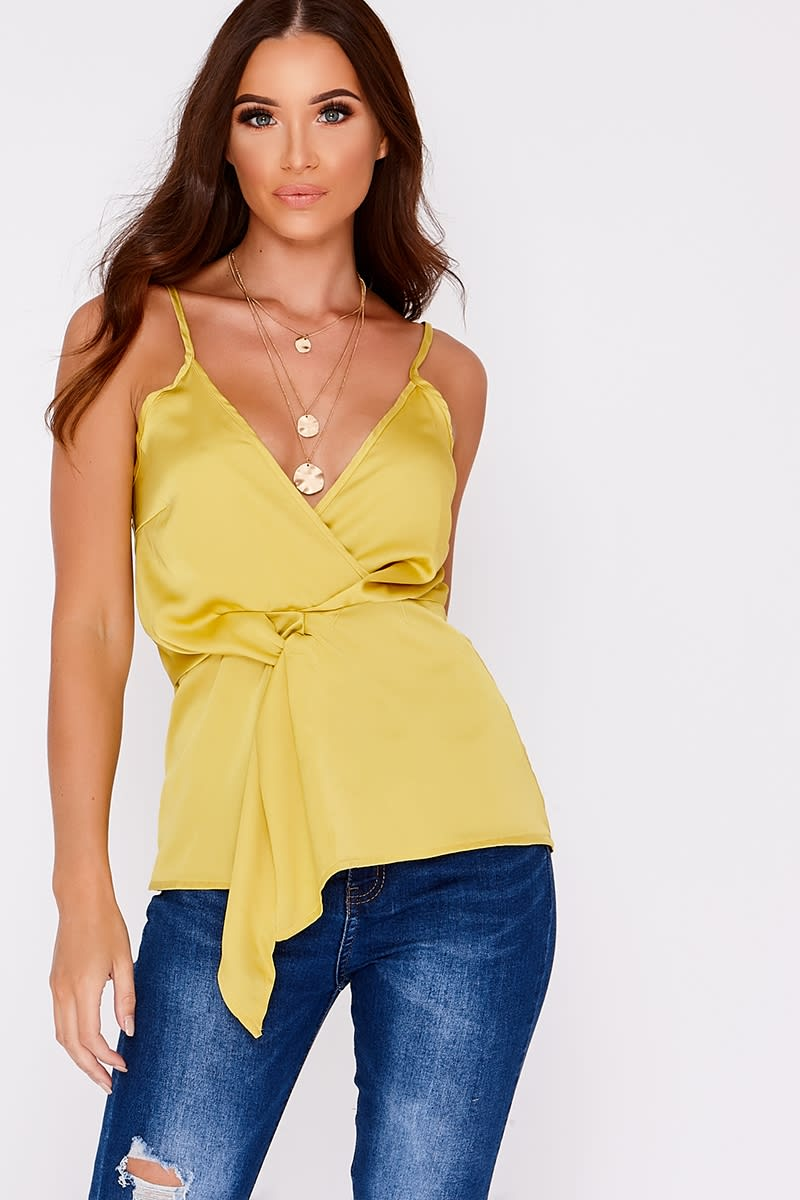 lime twist knot front cami top