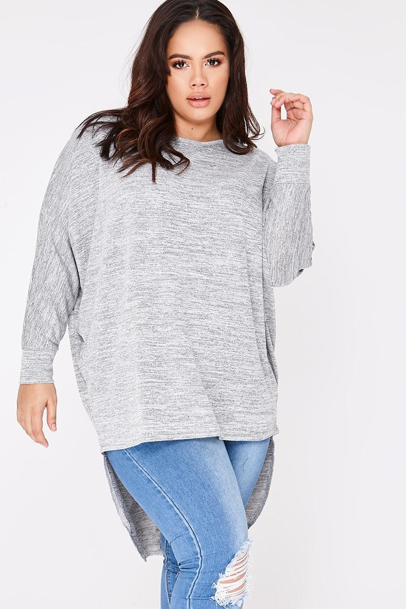 CURVE JENEY GREY MARL STEP HEM TOP