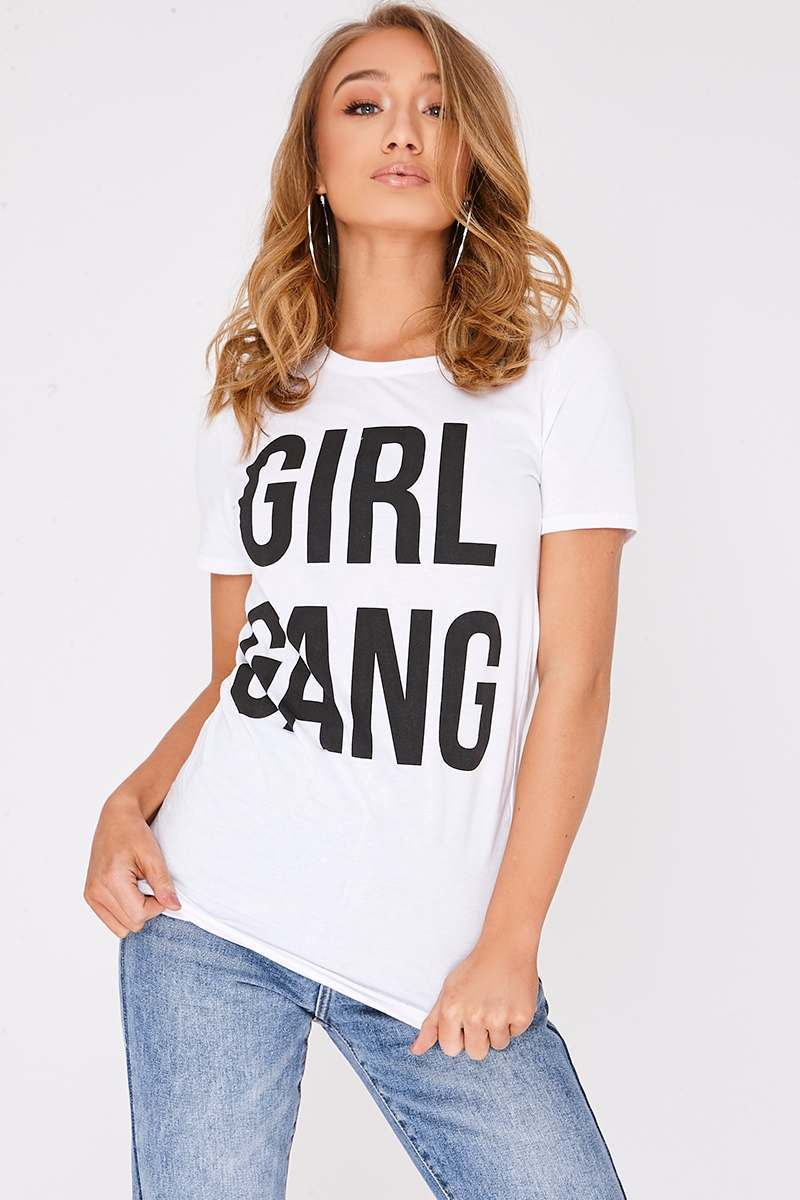 GIRL GANG WHITE SLOGAN TSHIRT