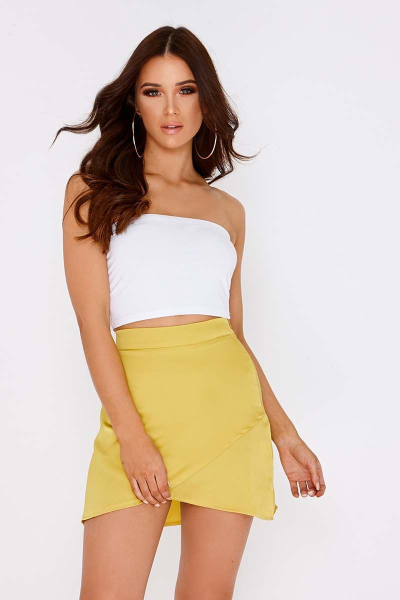 MADALYN LIME SATIN ASYMMETRIC SKIRT