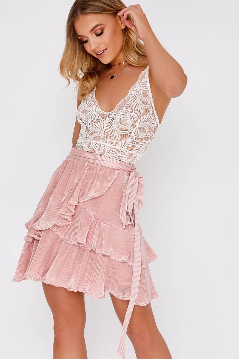 LYN NUDE PLEATED FRILL LAYER MINI SKIRT