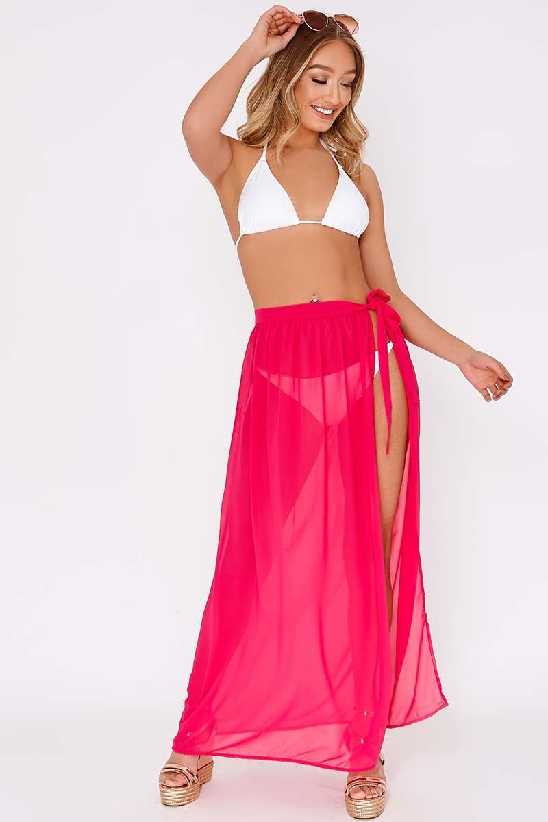 pink chiffon tie side maxi skirt