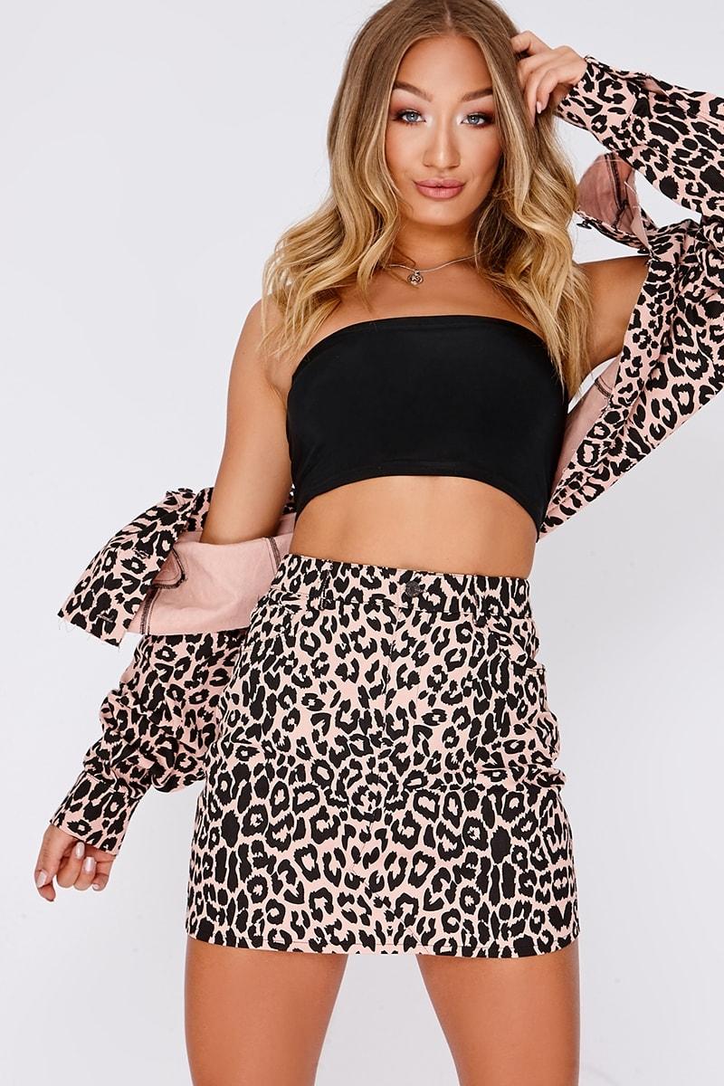 pink leopard print high waisted denim co-ord mini skirt