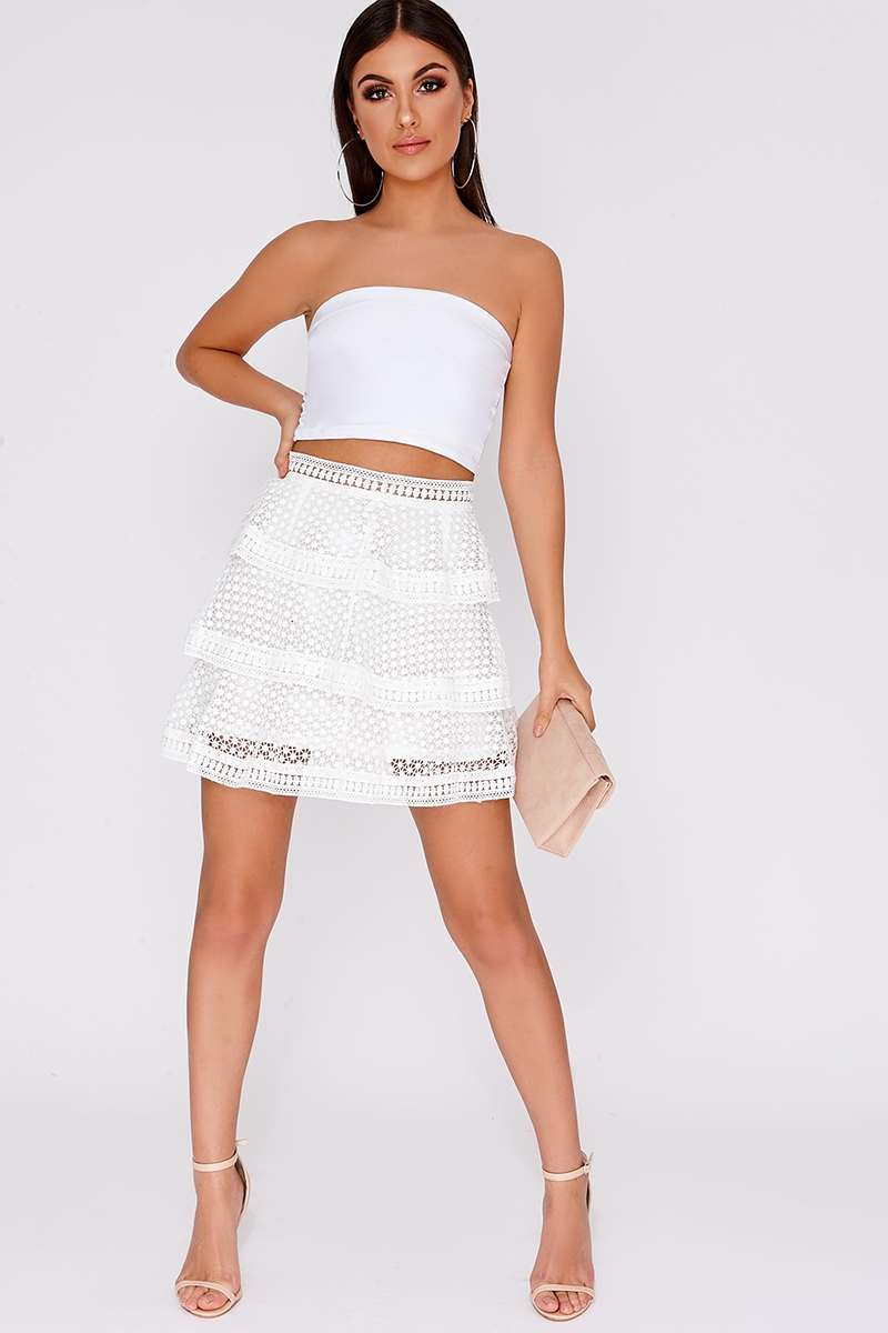 white crochet lace tiered skirt