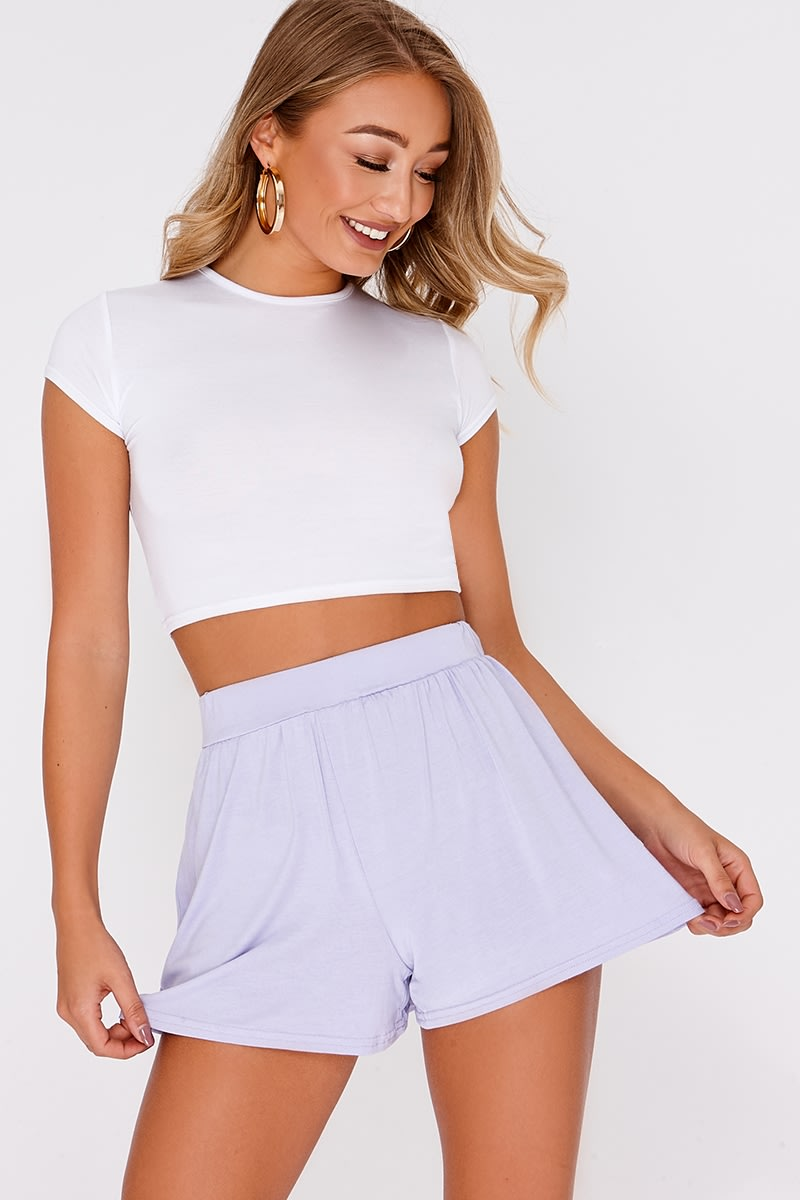 BASIC LILAC JERSEY HIGH WAISTED SHORTS