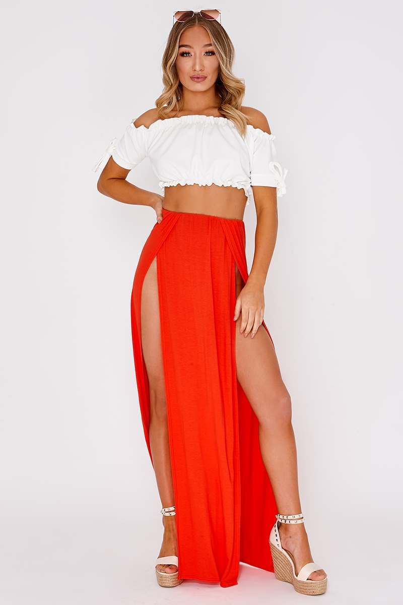 MALENE ORANGE BASIC FRONT SPLIT MAXI SKIRT