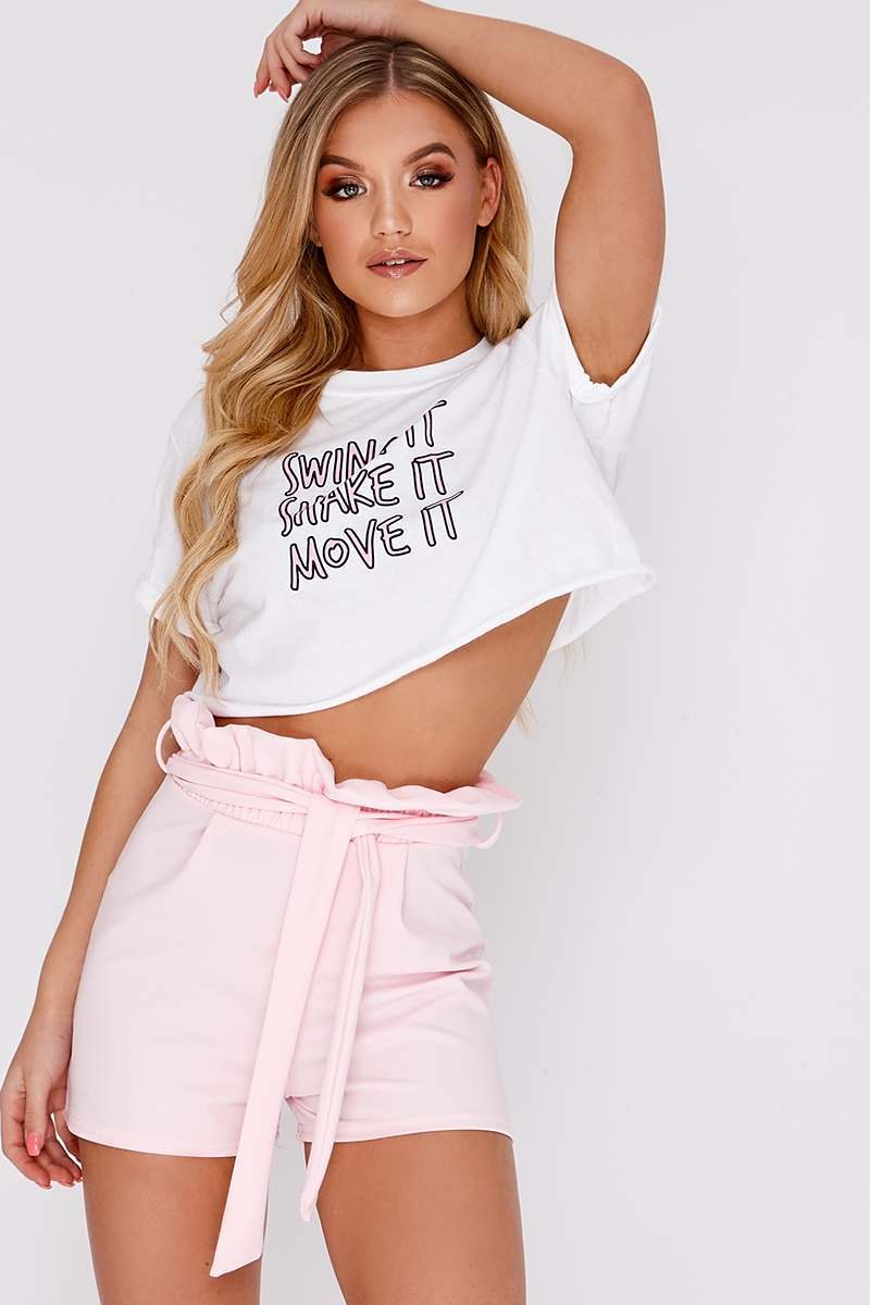 pink high waisted paperbag shorts