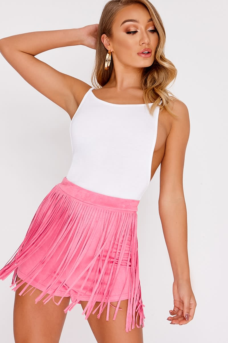 pink faux suede tassel shorts