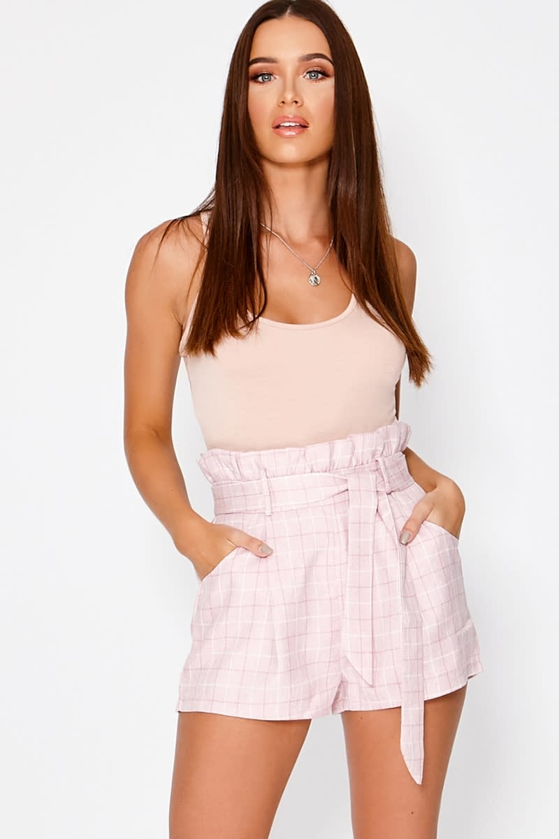 pink checked paperbag shorts
