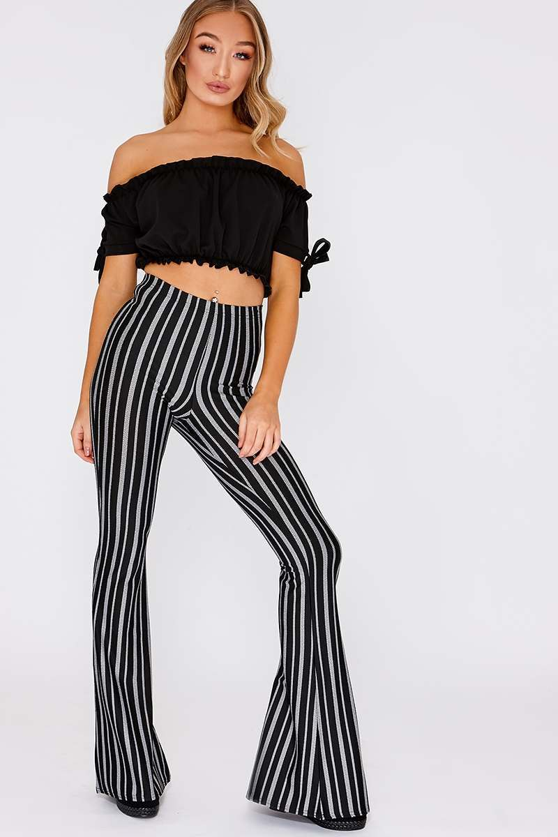 JAMIE LEE BLACK STRIPE FLARE LEG TROUSERS