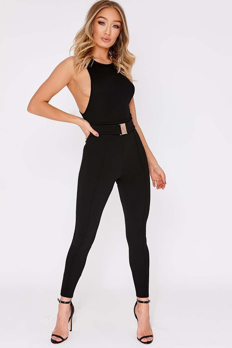 black buckle detail high waisted trousers