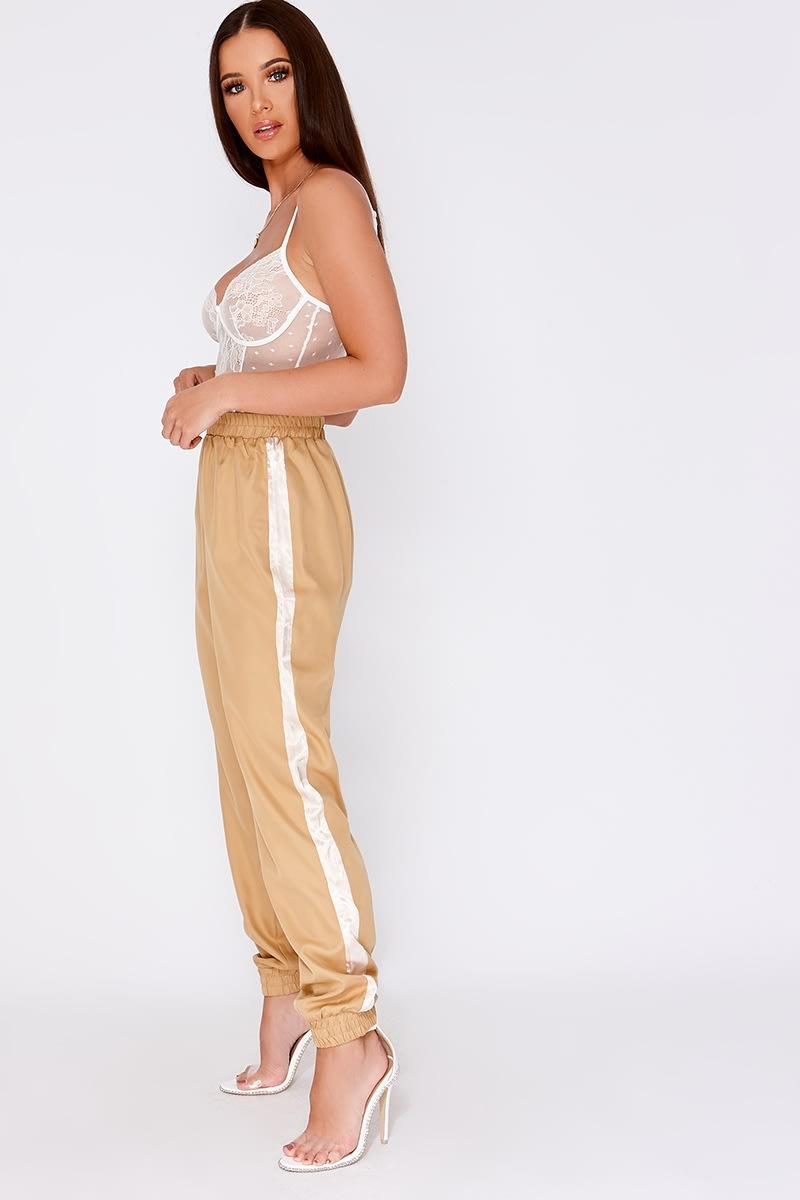 camel cargo stripe trousers