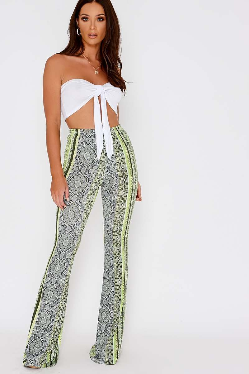 lee green paisley print slinky flare leg trousers
