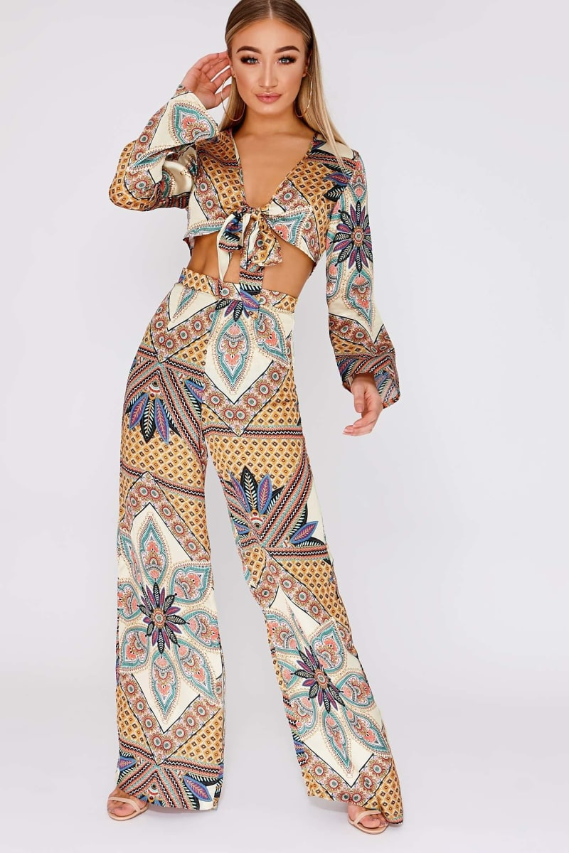 mustard tropical print satin side split trousers