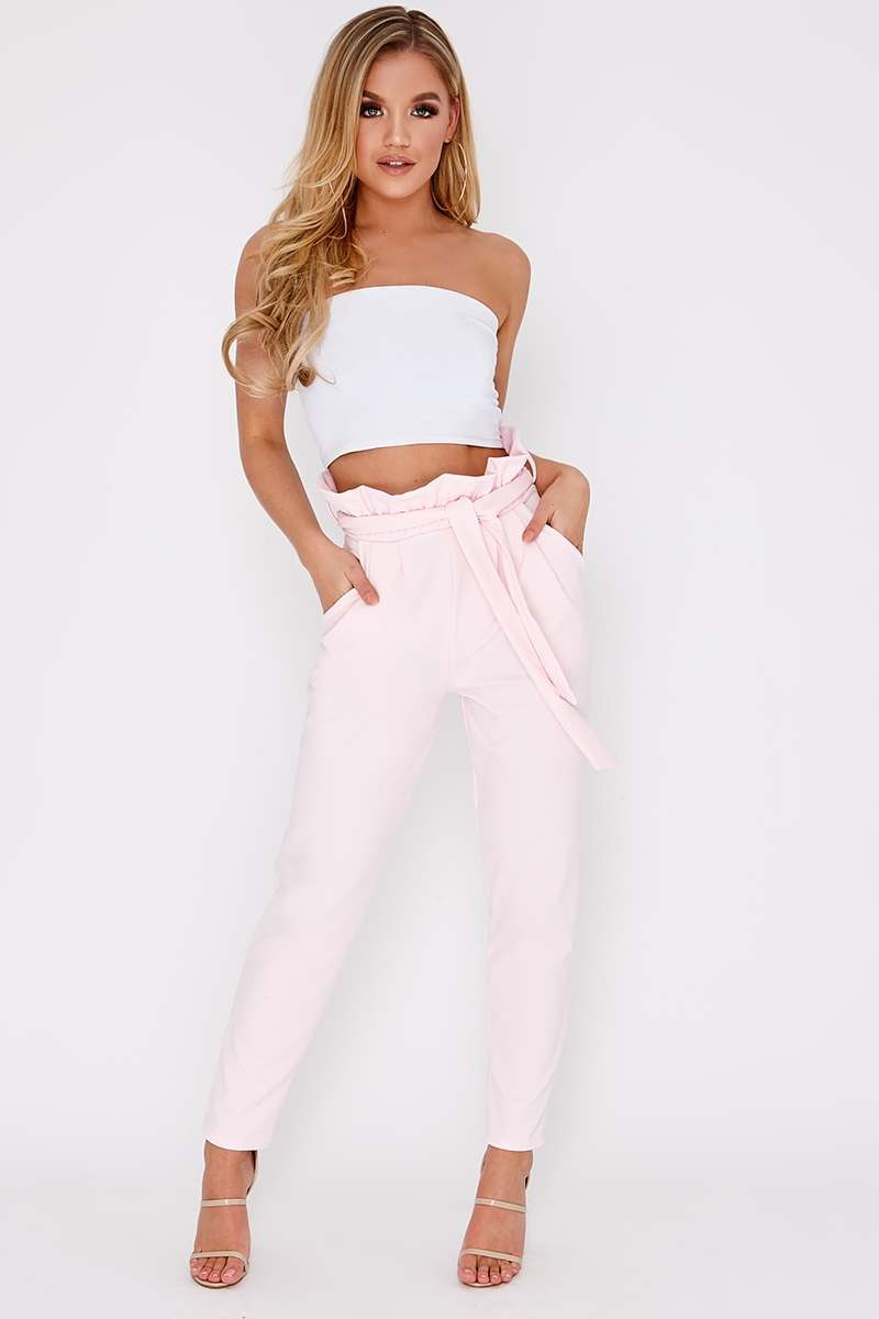 baby pink paperbag skinny trousers