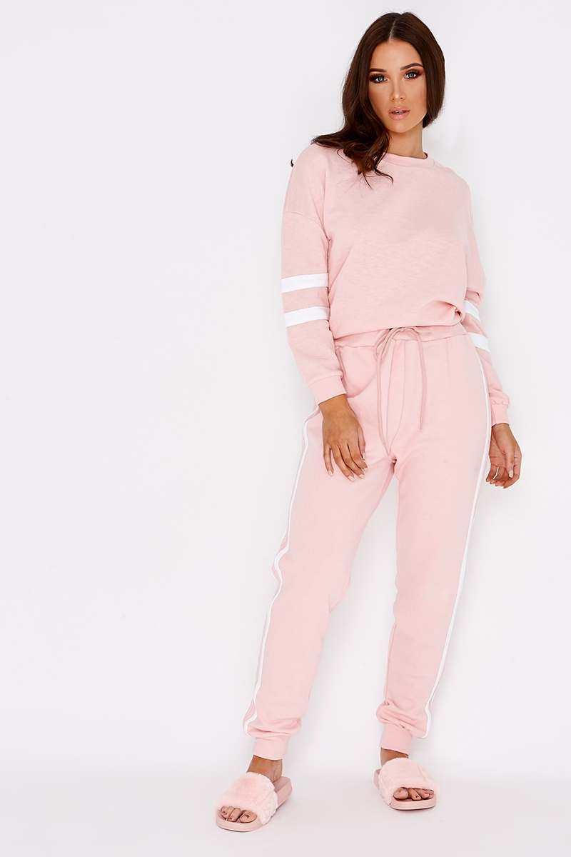 baby pink sports stripe joggers