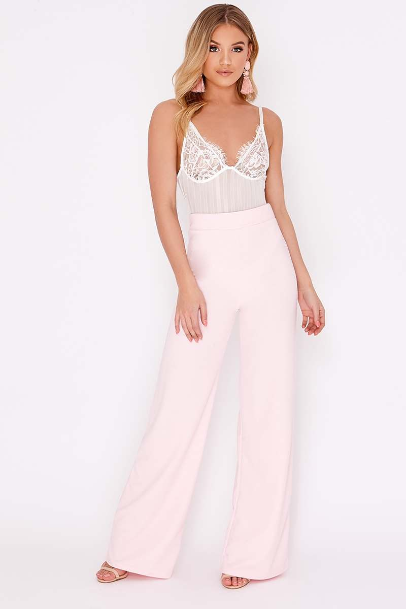 baby pink crepe wide leg trousers