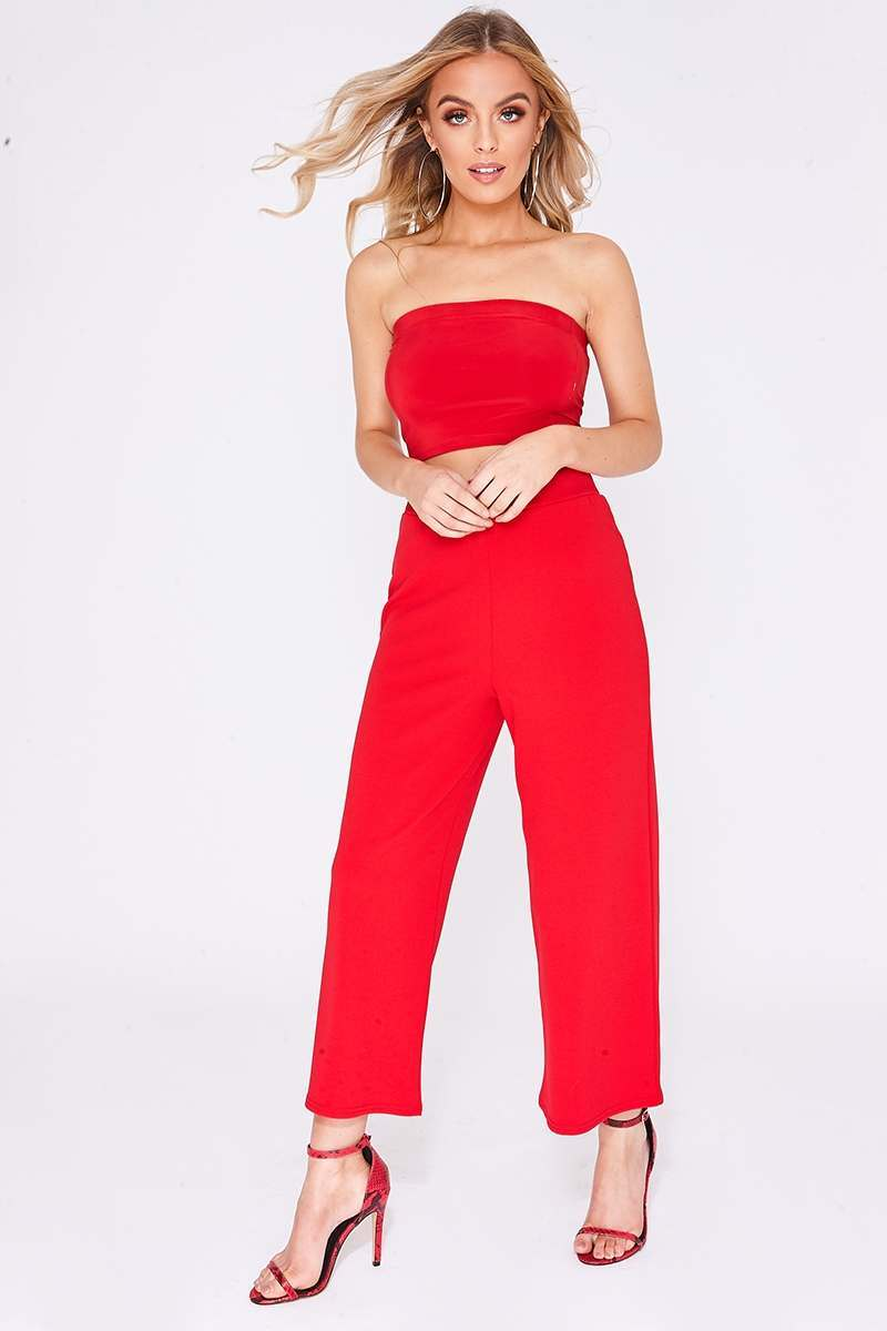 red crepe culottes