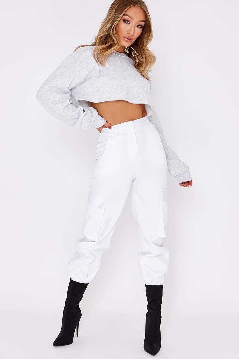 white combat cargo trousers