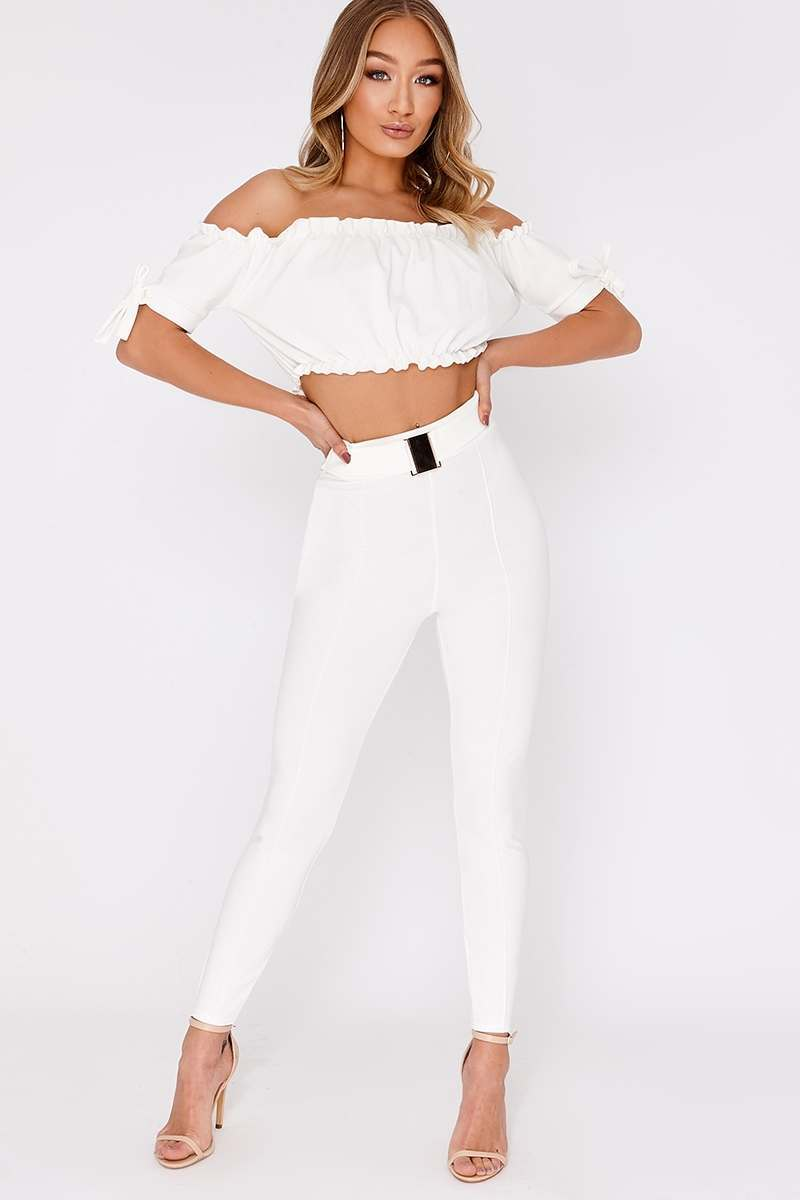 KALIDA WHITE BUCKLE DETAIL HIGH WAISTED TROUSERS