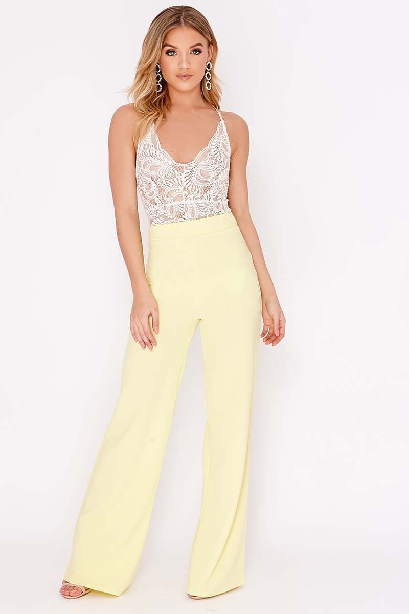 HANELLA LEMON CREPE WIDE LEG TROUSERS