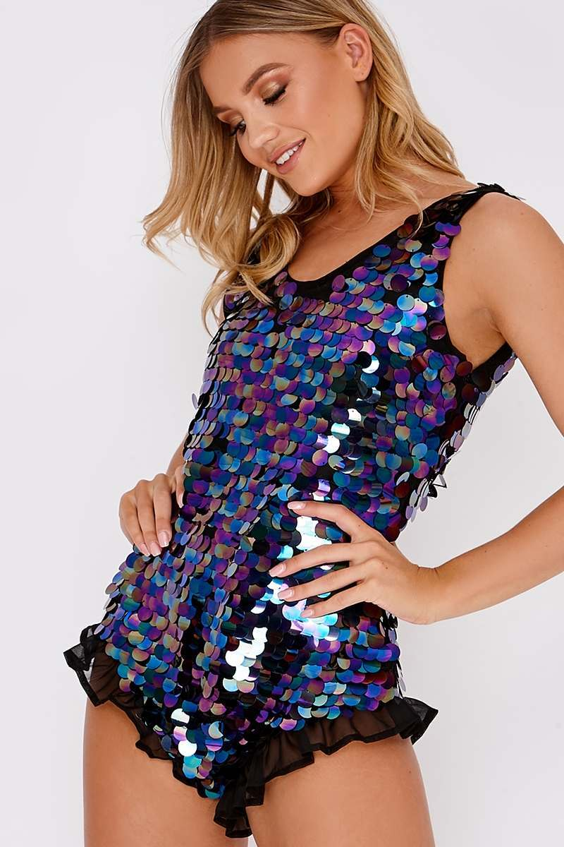 SAMI BLACK LARGE SEQUIN OPEN BACK PLAYSUIT