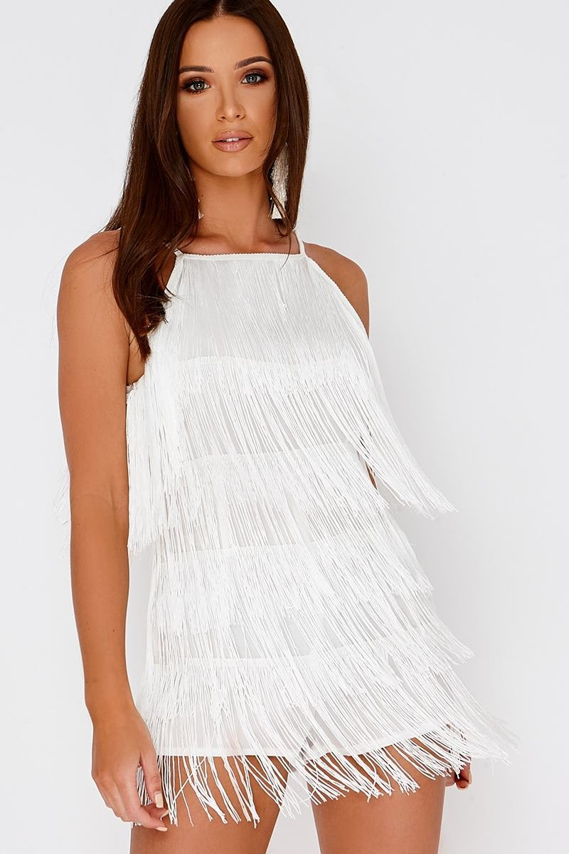 DESTIN WHITE TASSEL PLAYSUIT