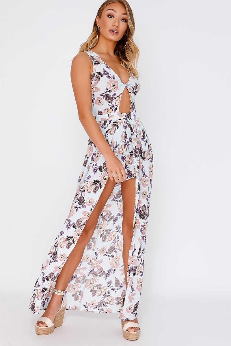 DARLAE BLUE FLORAL PLUNGE WATERFALL PLAYSUIT