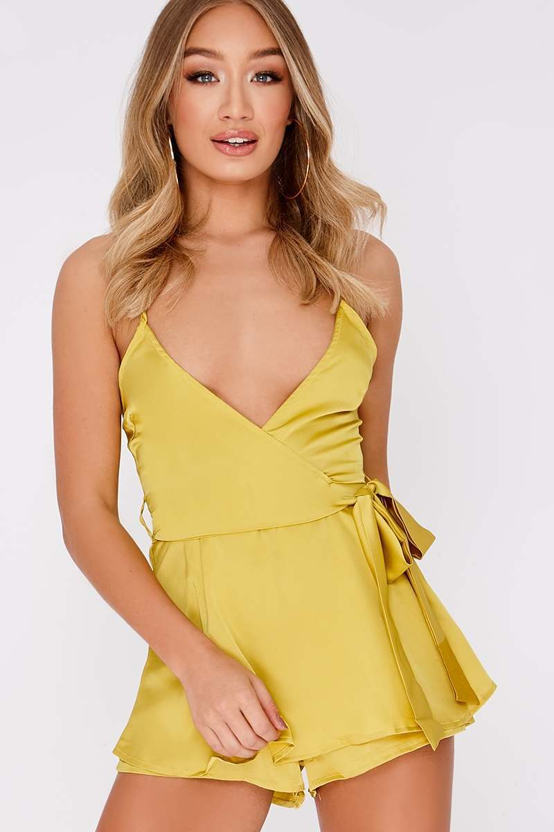 lime satin plunge frill playsuit