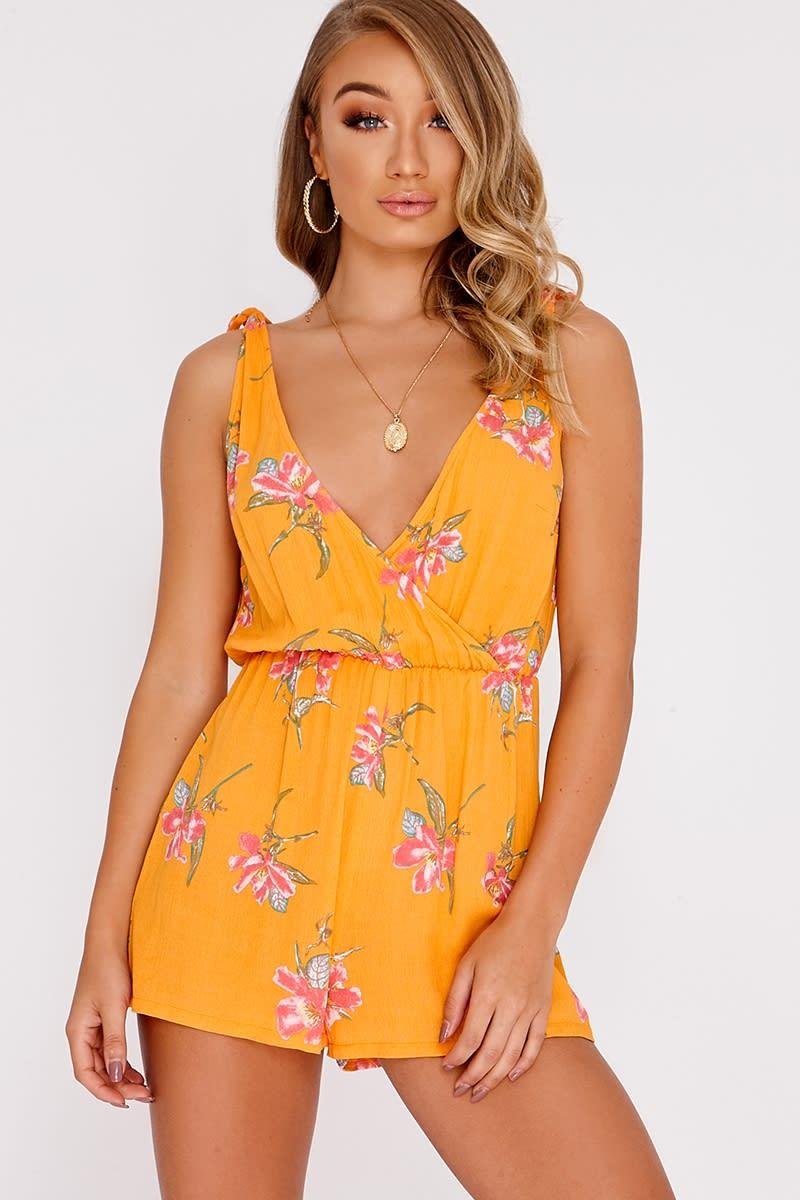 orange floral plunge playsuit