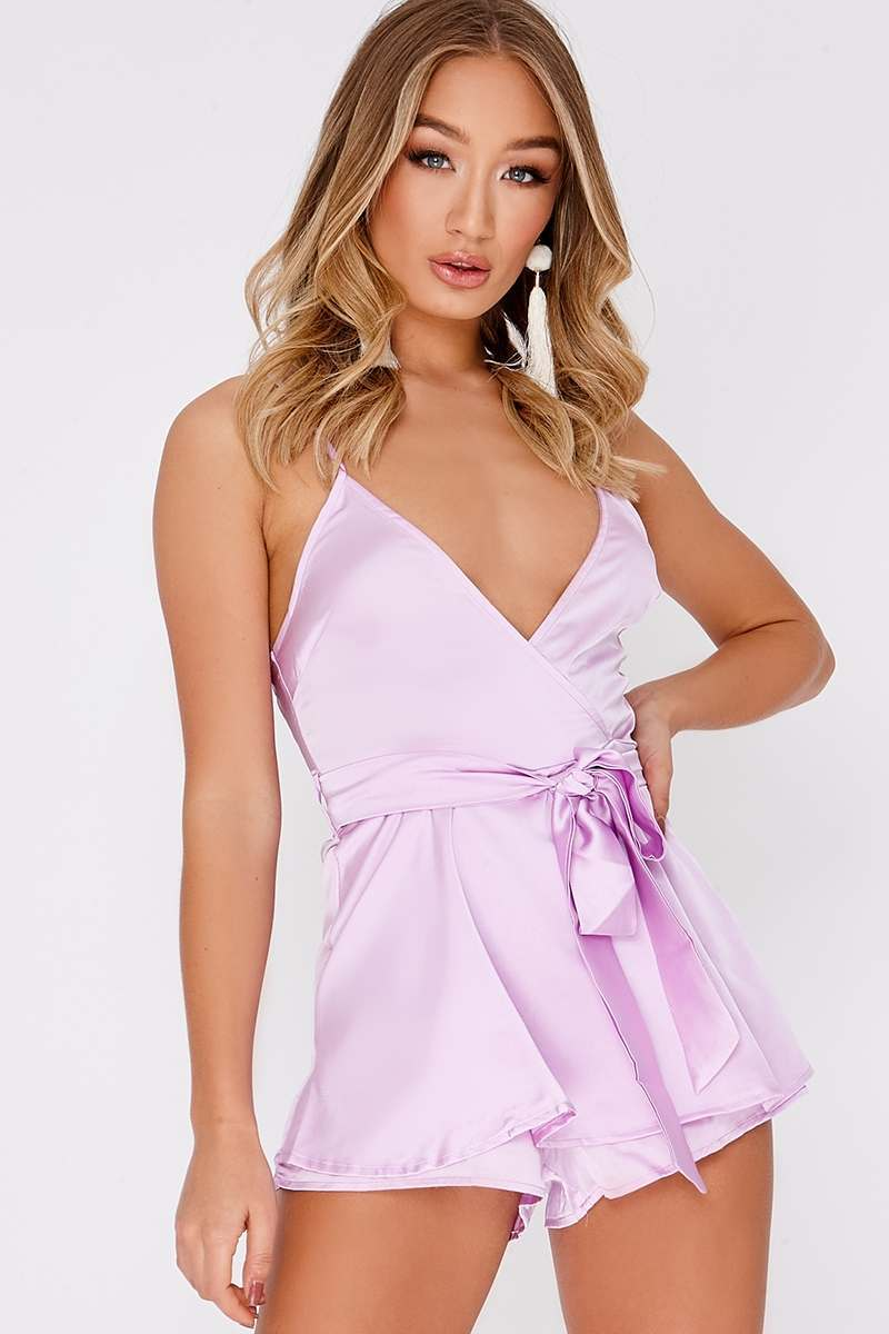 lilac satin plunge frill playsuit