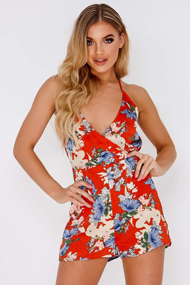 red floral plunge playsuit
