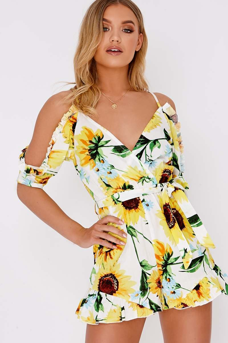 white sunflower print cold shoulder playsuit