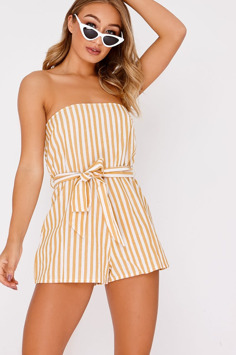yellow stripe tie front bandeau playsuit