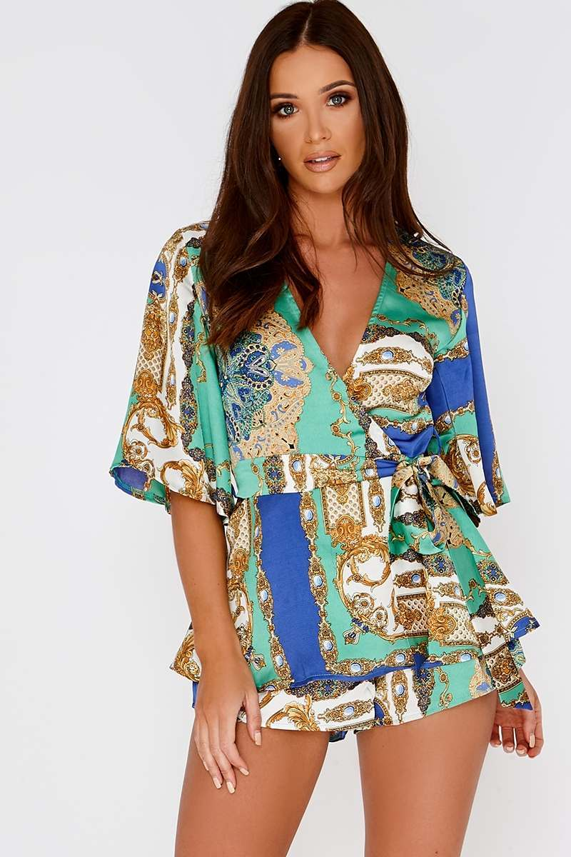 green scarf print wrap over playsuit