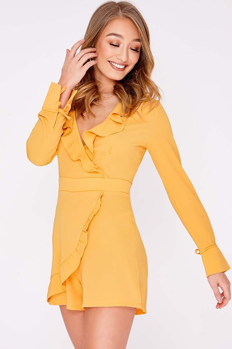 mustard frill wrap front playsuit
