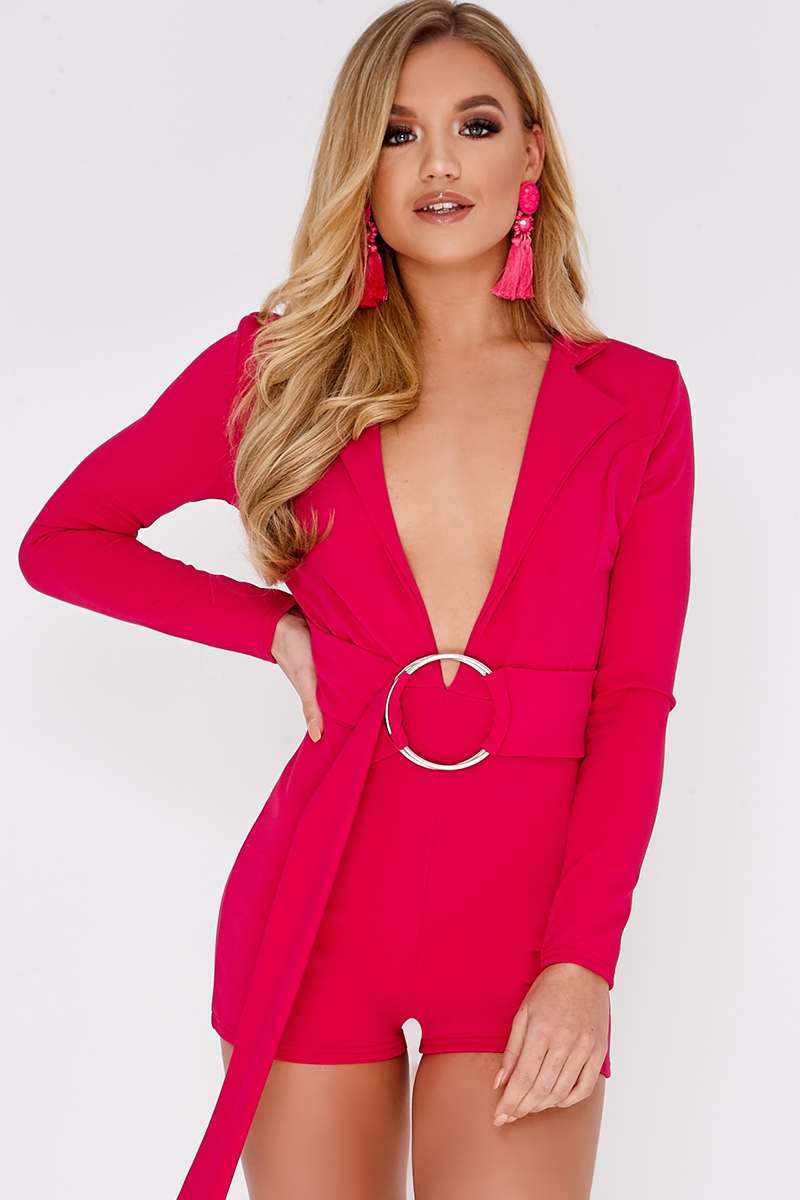 CAINDACE PINK PLUNGE BLAZER RING DETAIL PLAYSUIT