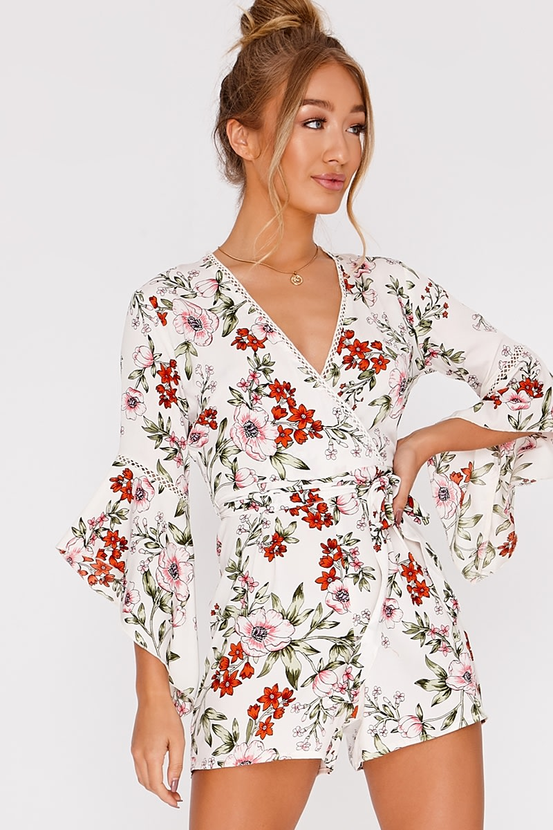 white floral wrap playsuit