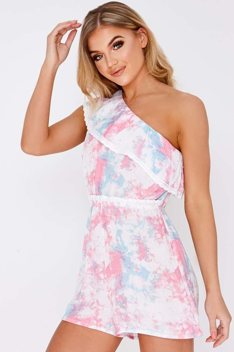 FINNLEY PINK TIE DYE ONE SHOULDER PLAYSUIT