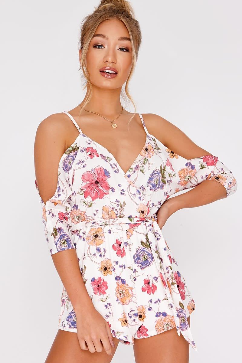white floral cold shoulder playsuit