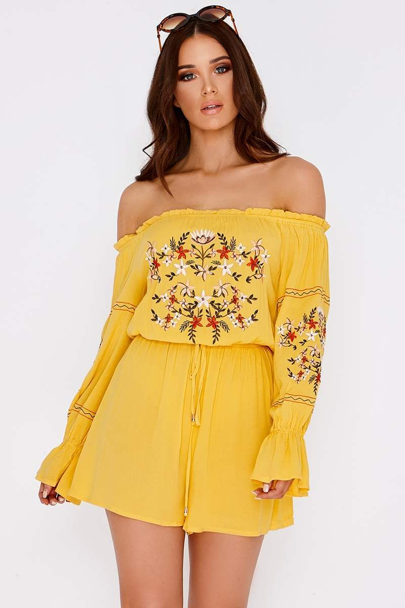 CENIA YELLOW EMBROIDERED BARDOT PLAYSUIT