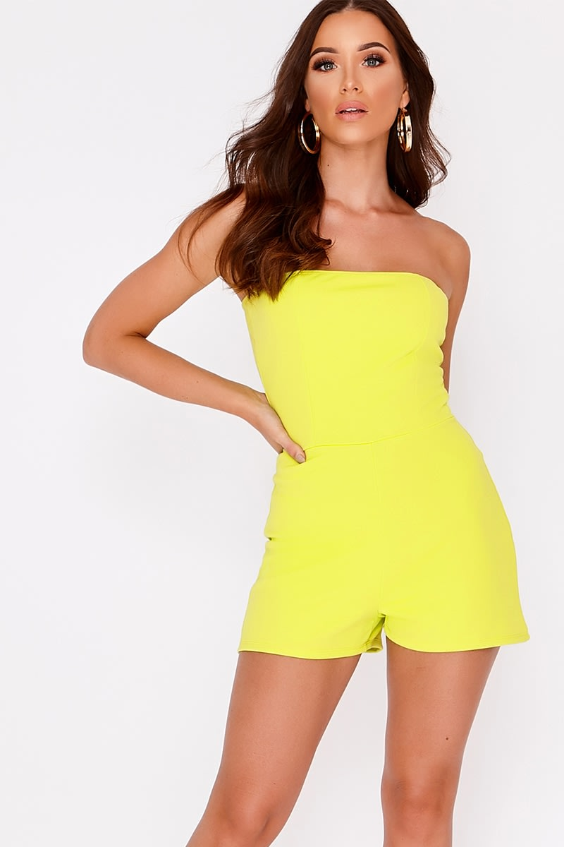 BASIC LIME SCUBA BANDEAU PLAYSUIT