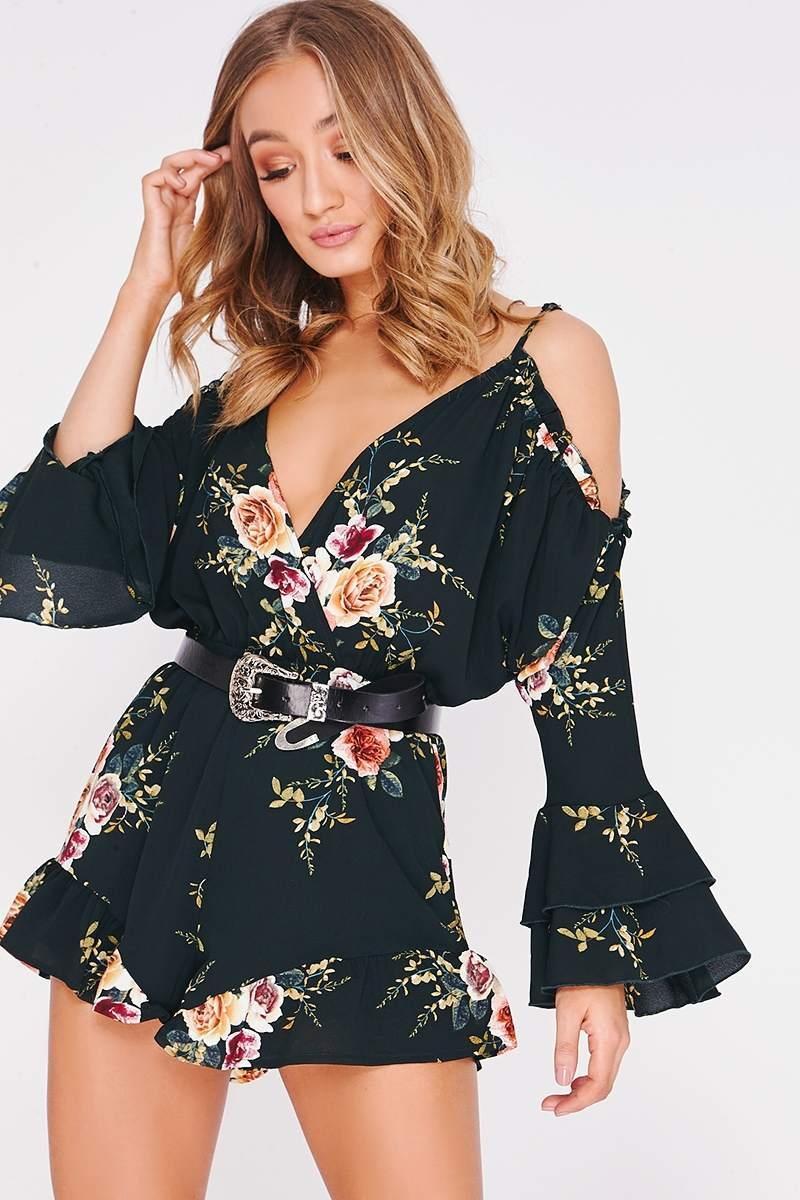 green floral frill cold shoulder playsuit