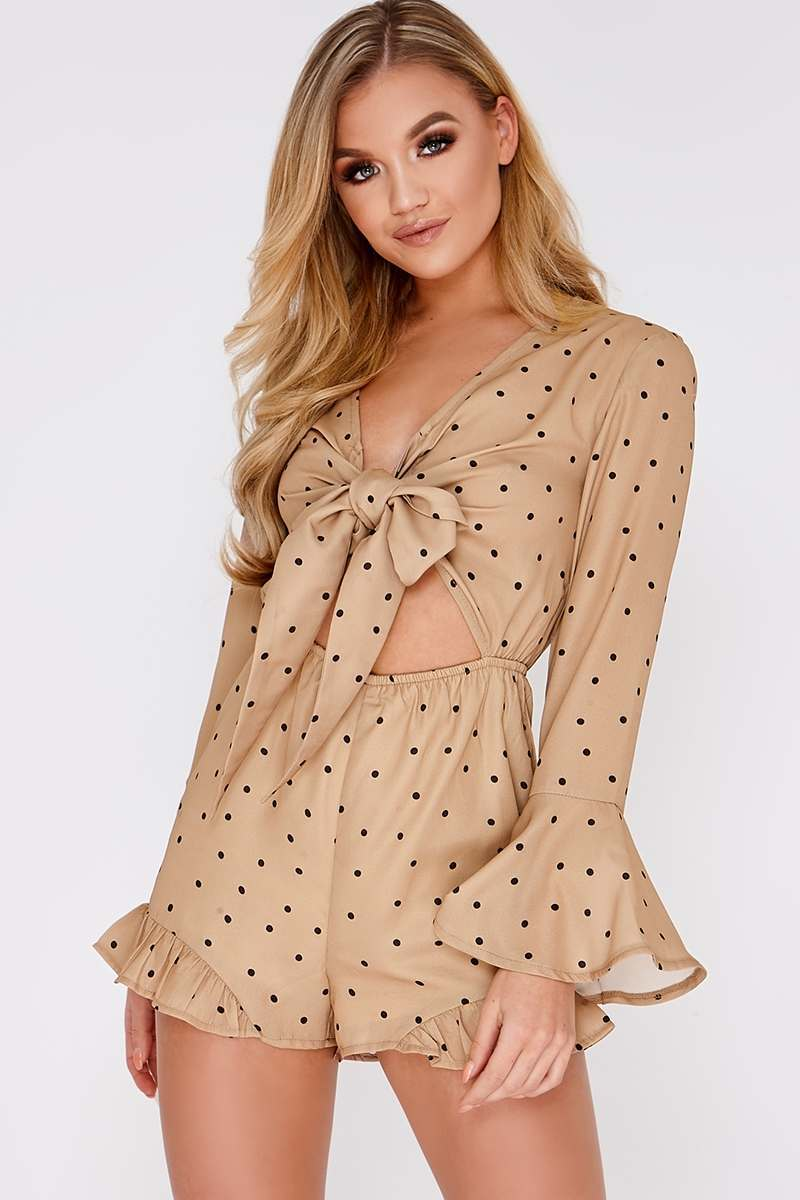 PANSY BEIGE POLKA DOT TIE FRONT PLAYSUIT